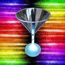 LED Light Up FLASHING MARTINI COCKTAIL GLASSES Multi Color Luau Tiki Bar-4pc SET