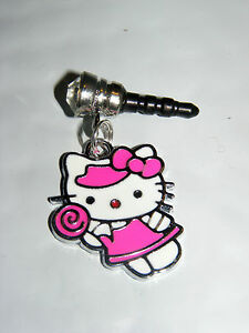 baby Pink Sucker Candy Hello Kitty phone charm plug cell phone plug