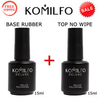 KOMILFO Set BASE Rubber 15ml. + TOP NO WIPE 15ml Gel LED/UV Nail Polish ORIGINAL