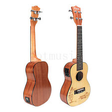 "Kmise 23"" Electric Acoustic Concert Ukulele Uke Hawaii Hawaiian Guitar Spruce"