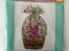 Easter Wrap Gift Basket Bag Clear Eggs,Bunny,Cellophane Bag 22 x 25 x 4 New