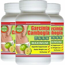 3 x Bottles Garcinia Cambogia Extract 95% HCA Natural  Weight Loss Diet FAT BURN