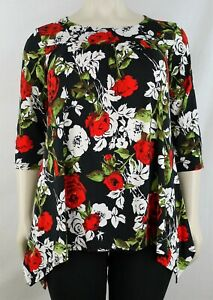 Round neck smock tops. floral prints 3/4 sleeve Plus sizes (14-32)