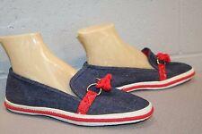 8 W NOS Blue Denim Red Bandana Vtg 70s Grasshoppers Slip-On Deck Sneaker Shoe