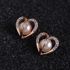 Hollow Rose Gold Pearl Earrings Heart Shape Ear Studs Rhinestone