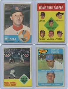 '63 & '65 Topps 4 Card Group Lot With HOFs & Stars Musial, Killebrew/Maris