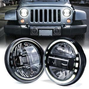 "Xprite 7"" Black LED Headlights w/ Halo DRL for 1997-2018 Jeep Wrangler JK TJ LJ"