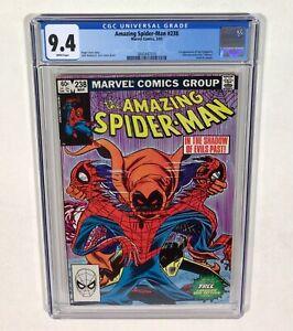 """Spider-Man #238 CGC 9.4 KEY WHITE & """"Tattooz"""" insert (1st Hobgoblin) 1983 Marvel"""