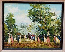 Vintage European oil painting signed R Amateis Victorian People Landscape Horses