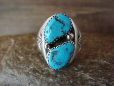 Navajo Indian Jewelry Sterling Silver Turquoise Ring, Size 9 1/2