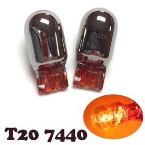 2X NO FADE Amber Chrome Bulb T20 7440 WY21W w21w Front Signal Light for V W
