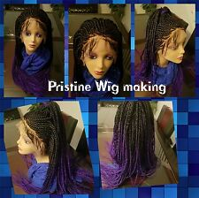 "Gorgeous 13*4  Lace  Frontal   Cornrow Wig Braids  1b , Purple  26"" to 28"""