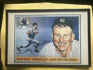 Reproduction Print RARE Mickey Mantle Poster / Card Prototype New York Yankees