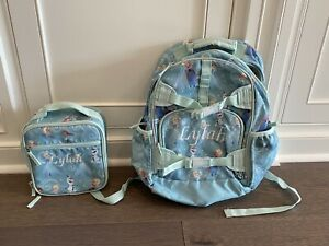 pottery barn kids backpack large Elsa Frozen EUC LYLAH Mono Lunchbox