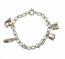 Edwardian Charm Bracelet And Charms 925 Sterling Silver 8.5g 7""