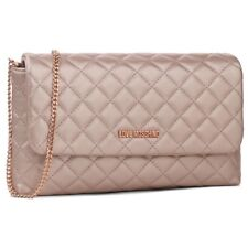 LOVE MOSCHINO Womens Handbag Small Rose Gold Guilted NWT New Clutch Bag