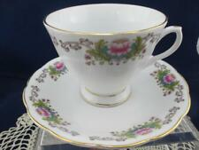 Vintage Pretty Pedestal Tea Coffee Cup & Saucer~Gold Accents~China