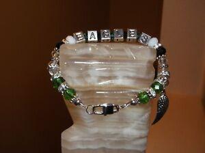 """WOMEN HANDMADE 8"""" 8 MM PHILADELPHIA EAGLES GLASS BEADED CHARM BRACELET"""