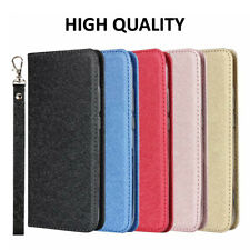 Silk Pattern Simple Magnetic Leather Card Strap Flip Stand Case Cover For Phones
