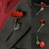 Metal Red Flower Brooch Pin Banquet Crystal Badge Gold Flower Xmas Gift Jewelry