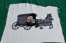 Fabric Panel Cartoon Amish Couple Buggie Unfinish Wall Hang/Pillow Crafter