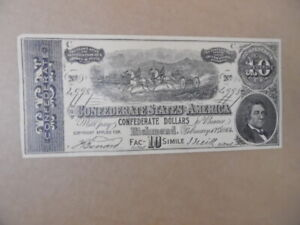 1890s Facsimile Confederate $10 Advertising Bank Note Novelty Madison Wisconsin
