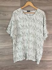 CISO WHITE GREY BROWN PRINT SHORT SLEEVE T SHIRT TOP SIZE L 18 20 8760