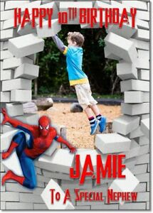 Personalised Birthday Photo Spiderman Daughter Son brother Friend Sister nephew