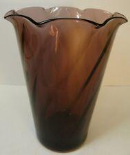 Hazel Atlas Moroccan Amethyst Purple Swirl Glass Wedding Flower Vase 1960s