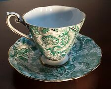 "Vintage Royal Standard Hand Painted ""Green Paisley"" Footed Tea Cup England"