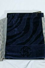 Authentic Roberto Cavalli big Velour  bath sheet ZEBRA - blue Made in Italy