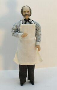 Elder Man Doll Grocery / Butcher - Artisan Dollhouse Miniature