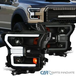For 15-17 Ford F150 Black Smoke Projector Headlights w/Switchback Sequential LED