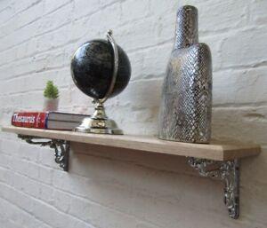 SOLID OAK WOOD HANDMADE SHELVES rustic Shelf cast iron shelf brackets