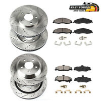 Front+Rear Drill Slot Brake Rotors & Ceramic Pads For 2011 - 2014 Ford Mustang