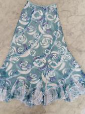 new- Komarov size S maxi ruffle Skirt blue floral printed Crinkle NWOT $164
