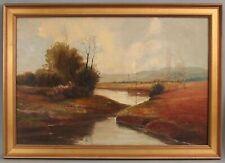 Large Antique c1900 Signed American Impressionist River Landscape Oil Painting