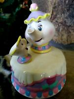 MRS. POTTS, CHIP MUSICAL HAND GLAZED SCHMID FIGURINE,DISNEY BEAUTY & BEAST,w/TAG