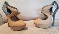 "SEXY Women's Aldo Tan Leather Silver Mary Jane Platform 6"" Heels Shoes 39 8.5"