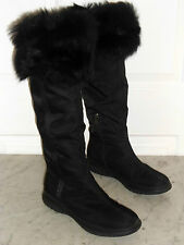 PRADA Knee High Fur Black BOOTS Winter Rain Cold Side Zip Womens Size 39