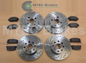 Ford Fiesta ST180 ST200 12- Drilled Grooved Front Rear Brake Discs Mintex Pads