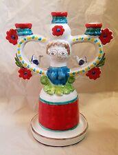 "Estate Desimone Italian Pottery Woman Birds Flowers #347 Candelabra 12 3/8"" Tall"