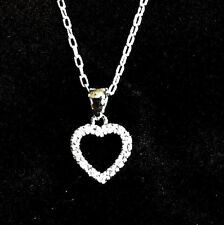 .925 Sterling Silver CZ Heart Pendant Necklace Rhodium Plated Heart Charm