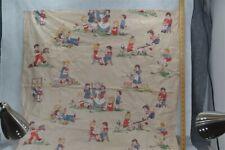 fabric chintz nursery rhyme children antique vintage new old 1940