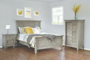 3-PC Amish Coastal Beach House Bedroom Set Solid Wood Queen King