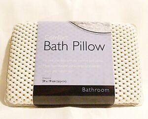 Luxury Bath Pillow Suction Cup Spongy Head Rest Bathtub Spa Relaxing Cushion