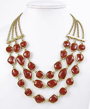 LUCKY BRAND Red Faceted Stone Three-Row Multi-Layer Gold-Tone Necklace $49