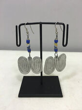 Coiled Blue White Sandcast Beaded Earrings Masai African Aluminum Double