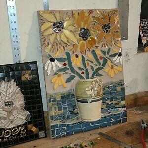 ORIGINAL MIXED MEDIA ART MOSAIC ART WOOD HAND PAINTED FLOWERS