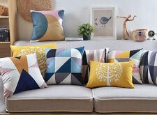 nordic geometric triangles circle boy girl tree birds cushion cover pillow case